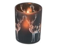 Teelichthalter Windlicht Hirsch, schwarzes Glas, Höhe 13 cm