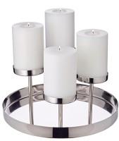 Kerzenleuchter Marbella, Edelstahl vernickelt, Länge 31 cm, Höhe 16 cm, für 4 Stumpenkerzen ø 8 cm