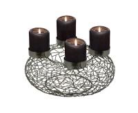 Adventskranz Milano, Edelstahl, schwarz, Durchmesser 34 cm, für Stumpenkerzen ø 8 cm