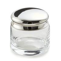 SALE Dose Glasdose Carma, Deckel edel versilbert, anlaufgeschützt, Höhe 9 cm, Durchmesser 8 cm