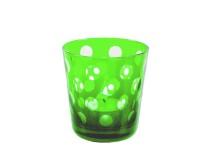6er Set Kristallgläser / Teelichter Bob, grün, handgeschliffenes Glas, Höhe 8 cm, Inhalt 0,14 Liter