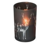 Teelichthalter Windlicht Hirsch, schwarzes Glas, Höhe 18 cm