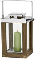 Laterne Windlicht Miami mit klappbarem Griff, Holz und Edelstahl glänzend vernickelt, Höhe 30 cm