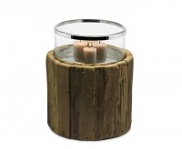 Windlicht Blackburn, Teakholz, Glas, Edelstahl glänzend vernickelt, Höhe 35 cm, Durchmesser 30 cm