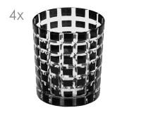 4er Set Kristallgläser Marco, schwarz, handgeschliffenes Glas , Höhe 9 cm, Füllmenge 0,25 Liter