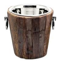Weinkühler Flaschenkühler Providence, Teakholz, Edelstahl glänzend vernickelt, H 28 cm, Gewicht 4 kg