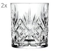 RCR Melodia 2er Set Wasserglas Whiskeyglas, Luxion-Kristall, Schliffdekor, H 9,5 cm, ø 8 cm, 310 ml