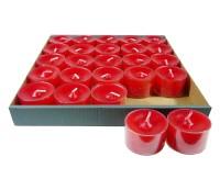 25 Stück WENZEL Nightlights Teelichtkerzen Teelichter, rot, transparente Hülle, Brenndauer ca. 8 h