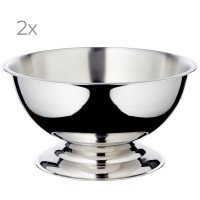 2er Set Champagnerkühler Cara, Edelstahl hochglanzpoliert, Durchmesser 40 cm, Höhe 21 cm