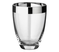 Vase Charlotte, mundgeblasenes Kristallglas mit Platinrand, Höhe 16 cm, Durchmesser 12 cm