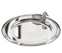 SALE Untersetzer Flaschenuntersetzer Ente, edel versilbert, Durchmesser 11 cm