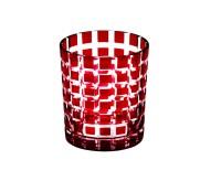 Kristallglas / Teelichthalter Marco, rot, handgeschliffenes Glas , Höhe 9 cm, Füllmenge 0,25 Liter