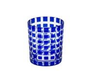4er Set Kristallgläser / Teelichter Marco, blau, handgeschliffenes Glas, Höhe 9 cm, Inhalt 0,25 L