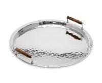 Serviertablett Hugo, rund, Edelstahl glänzend vernickelt, mit Bambusgriffen, Durchmesser 54 cm