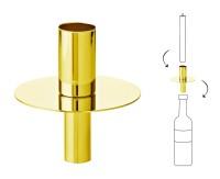 Flaschenaufsatz Kerzenhalter, Edelstahl vernickelt, goldfarben, Höhe 8 cm