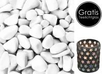 Marbles 7 - 15 mm, gerundete Dekosteine, 1 kg, weiß, Naturstein + gratis Teelichtglas Sterne H 13 cm