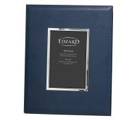 Fotorahmen Bert für Foto 10 x 15 cm, Lederoptik dunkelblau, edel versilbert, anlaufges., 2 Aufhänger