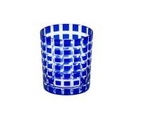 Kristallglas / Teelichthalter Marco, blau, handgeschliffenes Glas , Höhe 9 cm, Füllmenge 0,25 Liter