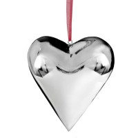 Anhänger Deko Herz, zum Hängen, Edelstahl hochglanzpoliert, 22 x 22 x 4,5 cm