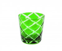 6er Set Kristallgläser / Teelichter Dio, grün, handgeschliffenes Glas, Höhe 8 cm, Inhalt 0,14 Liter