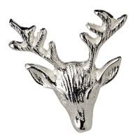 4er Set Kerzenpin Kerzenstecker Hirsch, Aluminium vernickelt, Höhe 5 cm