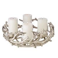 Adventskranz Porus, Geweih-Design, Aluminium vernickelt, silberfarben, ø 30 cm, für Kerzen ø 6 cm