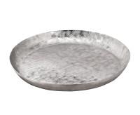 SALE Tablett Serviertablett Cosimo, Aluminium, gebürstet, vernickelt, Durchmesser 50 cm