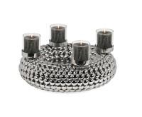 Adventskranz Bodo mit Kerzengläsern, Edelstahl glänzend vernickelt, Durchmesser 36 cm