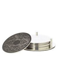 6er Set Untersetzer Brügge mit Halter, edel versilbert, anlaufgeschützt, Durchmesser 9 cm