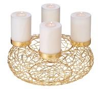 Adventskranz Milano, Edelstahl, Gold-Optik, Durchmesser 34 cm, für Stumpenkerzen ø 8 cm