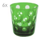 6er Set Kristallgläser Bob, grün, handgeschliffenes Glas , Höhe 8 cm, Füllmenge 0,14 Liter