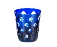Kristallglas / Teelichthalter Bob, blau, handgeschliffenes Glas , Höhe 10 cm, Füllmenge 0,23 Liter