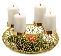 Adventskranz Milano, Edelstahl, goldfarben, Durchmesser 34 cm