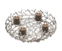 Adventskranz Porus, Geweih-Design, Aluminium vernickelt, ø 58 cm, mit Gläsern ø 8 cm