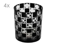 4er Set Kristallgläser Diego, schwarz, handgeschliffenes Glas , Höhe 9 cm, Füllmenge 0,25 Liter