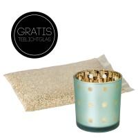 Dekogranulat 2-3 mm, 2 kg, creme, staubfrei, verschließbarer Beutel +gratis Teelichtglas Duco H 8 cm