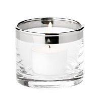 2x Windlicht Molly, mundgeblasenes Kristallglas mit Platinrand, H 6 cm, Ø 7 cm, Plus 16 Maxiteelicht