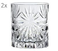 RCR Oasis 2er Set Wasserglas Whiskeyglas, Luxion-Kristall, Schliffdekor, H 9,5 cm, ø 8 cm, 320 ml