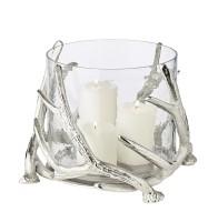 Windlicht Kingston, Geweih-Design, Aluminium, silberfarben, mit Glas, Höhe 20 cm, ø 25 cm