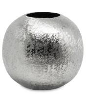 SALE Vase Kugelvase Inga, Aluminum, gebürstet, vernickelt, Höhe 21 cm, Durchmesser 22 cm, ø Öffnung