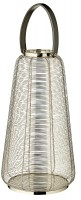 Laterne Windlicht Big mit Ledergriff, Edelstahl glänzend vernickelt, Höhe 58 cm