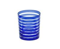 4er Set Kristallgläser / Teelichter Nelson, blau, handgeschliffenes Glas, Höhe 9 cm, Inhalt 0,25 L