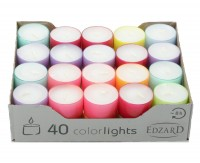 40 Stück Wenzel Colorlights Summer Teelichte, weiß, bunte Kunststoffhülle, ca. 8 h, ø 38 mm, H 24 mm
