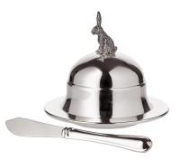 Butterglocke Hase, Durchmesser 11 cm, edel versilbert, hochglanzpoliert, inklusive Buttermesser