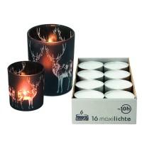 EDZARD Teelichthalter Hirsch, schwarzes Glas, Set Höhe 8 cm und 13 cm Plus 16 Maxi-Teelichter