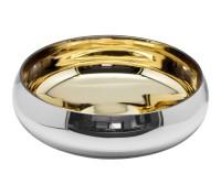 Schale Dekoschale Tessin, Glas, außen silberfarben, innen goldfarben,Durchmesser 30 cm