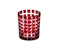 4er Set Kristallgläser / Teelichter Marco, rot, handgeschliffenes Glas, Höhe 9 cm, Inhalt 0,25 Liter