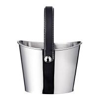 Eiseimer Gilbert Weinkühler mit schwarzem Ledergriff, Edelstahl glänzend vernickelt, Höhe 23 cm