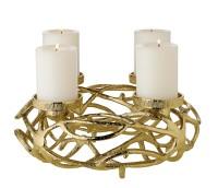 SALE Adventskranz Bernd, Durchmesser 29 cm, Aluminium vernickelt goldfarben, für Kerzen ø 6 cm