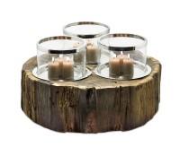 SALE Windlicht Chattanooga, 3 Gläser, Holz, Edelstahl glänzend vernickelt, ø 44 cm,H 25 cm,ø Gläser